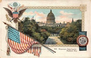 LPS22 Wisconsin State Capitol Patriotic Flag Postcard Langsdorf