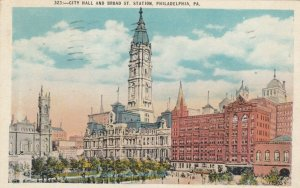PHILADELPHIA, Pennsylvania, 1930; City Hall and Broad St. Station