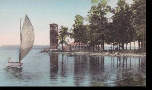 New York  Chautauqua Miller Memorial Bell Tower  on  Lake Chautauqua  Albertype