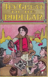 It's Great to be Popular, Men cheering Female Football Player, 1900-10s