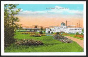 River Park & Large Ship La Crosse Wisconsin Unused c1920s