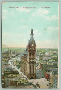 Milwaukee Wisconsin~The City Hall~Clock Tower~Main Street~Aerial View~c1904 PC