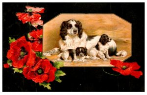 Dog ,  Mother and Puppies , Flowers