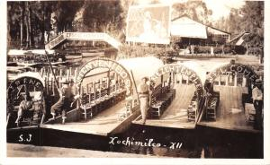 MEXICO CITY~MEXICO~XOCHIMILCO XII~GONDOLA BOATS~REAL PHOTO POSTCARD 1940s