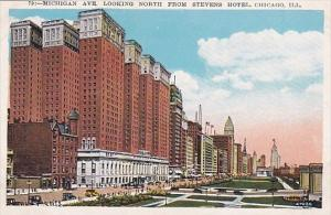 Illinois Chicago Michigan Avenue Looking North From Stevens Hotel