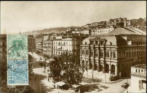 algeria, ALGER, Place Bresson, Theatre, Tram (1931) RPPC