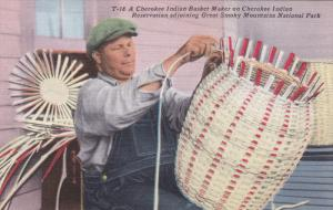 Cherokee Indian Basket Maker on Cherokee Indian Reservation adjoining Great S...