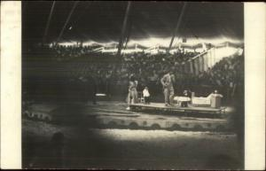 Circus Stage Act Monkey Chimps in Suits - Real Photo Postcard