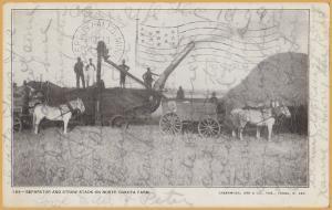 Separator (early combine?) & Straw Stack on North Dakota Farm -1908