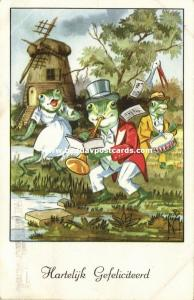 Dressed Frogs Singing and making Music, Instruments Drum Trumpet (1955)