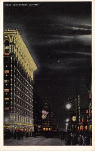 Denver Colorado~15th Street @ Night~Edelweiss Beer~Clock~Lights~1920s Postcard