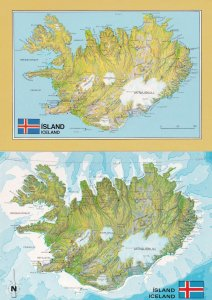 Iceland Survey Department 2x Map Postcard s