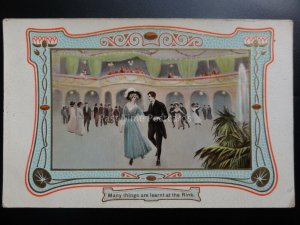 A Couple Roller Skating MANY THING ARE LEARNT AT THE RINK c1910 by Philco Co