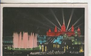 Postal  coloreada de epoca  0147 : Brogador Magic  y Palau Nacional de Barcelona