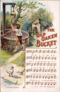 The Old Oaken Bucket Song Music Ducks Chas Rose Series 11 Vintage Postcard D48