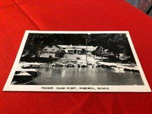 RPPC postcard TREASURE ISLAND RESORT Mindemoya Ontario Canada pmd Little Current
