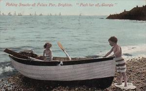 England Brighton Fishing Smacks Off Palace Pier 1912