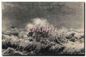 Old Postcard Le Havre La Rade load of wrecks in heavy storm