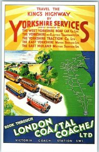Bus Postcard YORKSHIRE SERVICES Dalkeith's Classic Poster Series Unused