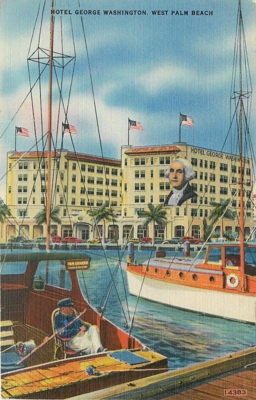 West Palm Beach Florida~Hotel George Washington~Social Civic Ctr~1940s Postcard