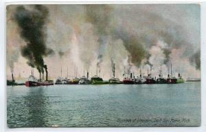 Steamer Blockade Sault Ste Marie Michigan 1910c postcard