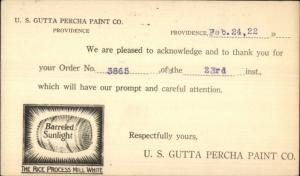 Illustrated Postal Card Barreled Sunlight US Gutta Percha Paint Providence RI