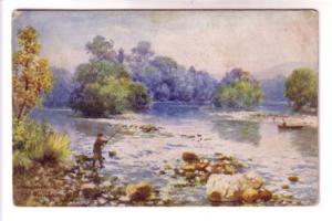 Tuck, Man Fishing, Inverness, Scotland, Signed WB Winbush?