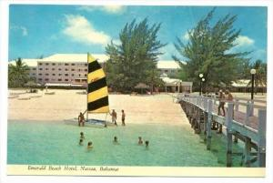 sailboat on beach at  Emerald Beach Hotel, Nassau , Bahamas, 60-80s