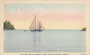 Sail Boat, St Lawrence River, Thousand Islands , Ontario , Canada , PU-1949