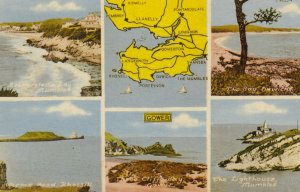 MAP: GOWER , Wales , UK , 1930s ; w/LIGHTHOUSE
