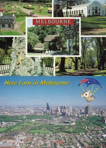 Melbourne Fairy Tree Carvings Flying Umbrella 2x Postcard s