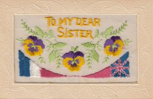 Embroidered 1914-18 ; Pansy Flowers : To my Dear Sister