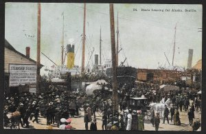 Boats Leaving For Alaska Seattle Washington Used c1908