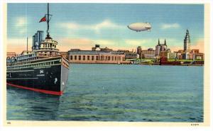 Ohio Cleveland  Harbor View - Steamship, Airship, Stadium