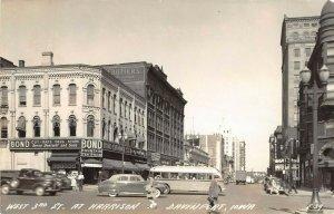 LP64   Davenport   Iowa Vintage Postcard RPPC  West 3rd St at Harrison Bus