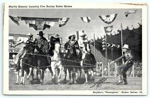 VTG Postcard Marvin Ramsey Racing Rodeo Horses Stryker's Photogloss Cowboy A5