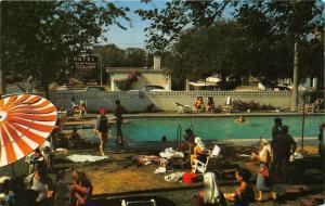 McAllen Texas~Casa de Palmas Hotel-People @ Swimming Pool~1950s Postcard