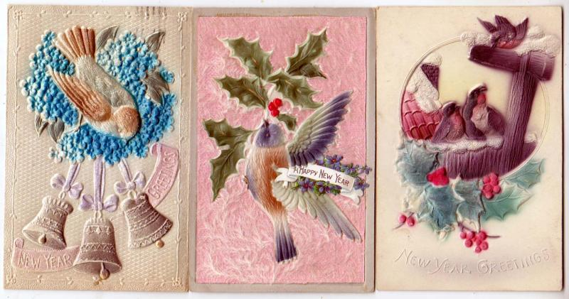 3 - New Years Cards, with Birds & Heavy Embossed