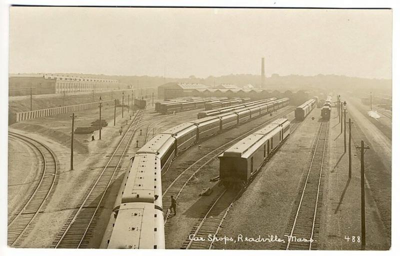 Readville MA Car Shops Railroad Station Train Depot RPPC Real Photo Postcard