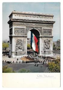 France Paris Arc de Triomphe French Flag Monier Postcard
