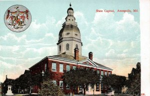 LP96  State Capitol Annapolis   Maryland    Postcard