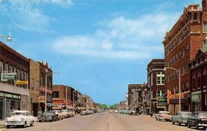 Eldorado Kansas~Main Street~Cadillac Oldsmobile Dealer~Hotel~1950s Cars~Postcard
