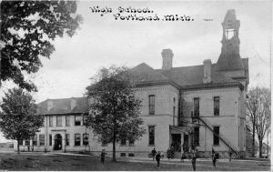 Portland Michigan~High School~Students in Front Playing~c1910 C U Williams Pc