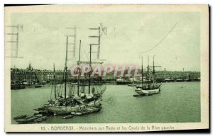 Postcard Old Bordeaux on cod fishing Rade and the Quays Shore Yacht