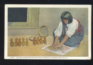 PUEBLO OF TESUQUE NEW MEXICO INDIAN WOMAN MAKING RAIN GODS OLD POSTCARD