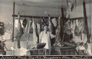 Real Photo Postcard Jackson's Meat Market in Youngstown, Alberta, Canada~125041