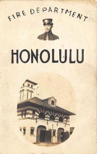 Honolulu HI Fire Department Fire Station Poster Type RPPC Postcard