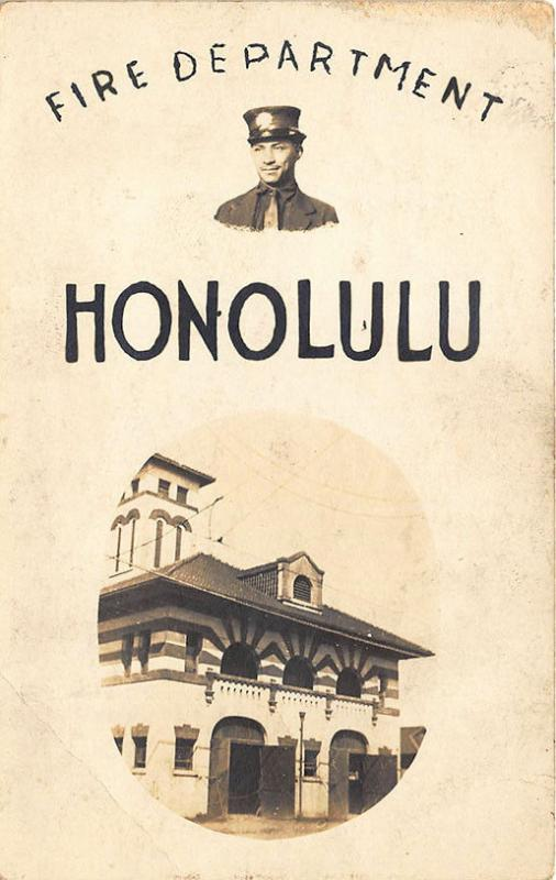 Honolulu HI Fire Department Fire Station Poster Type RPPC