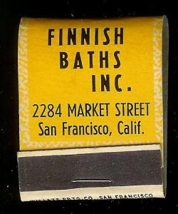 FINNISH BATHS San Francisco 1940's Full Unstruck Matchbook