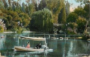 Los Angeles California~Willow Tree, Swans, Canal Boat in East Lake~1909 Postcard